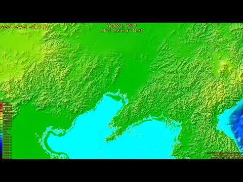 Yingkou, China, sea level rise -135 - 65 m