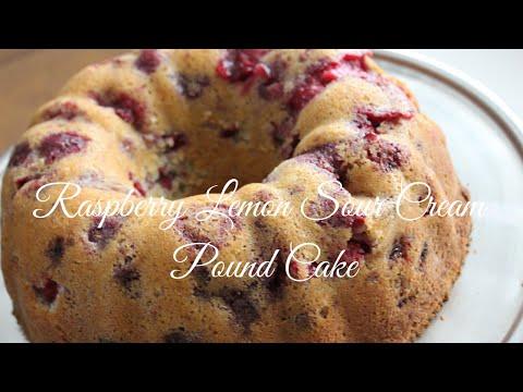 Raspberry Lemon Sour Cream Pound Cake