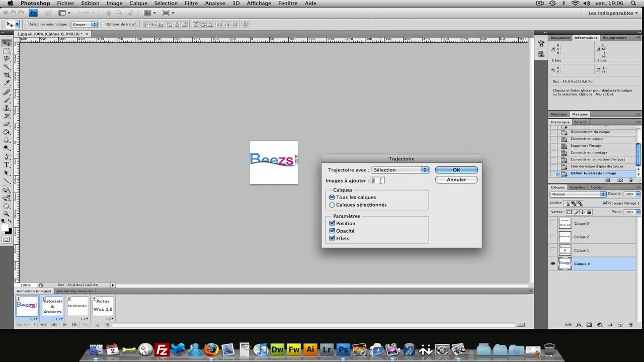 tutoriel vid u00e9o   cr u00e9er une animation gif avec photoshop cs4