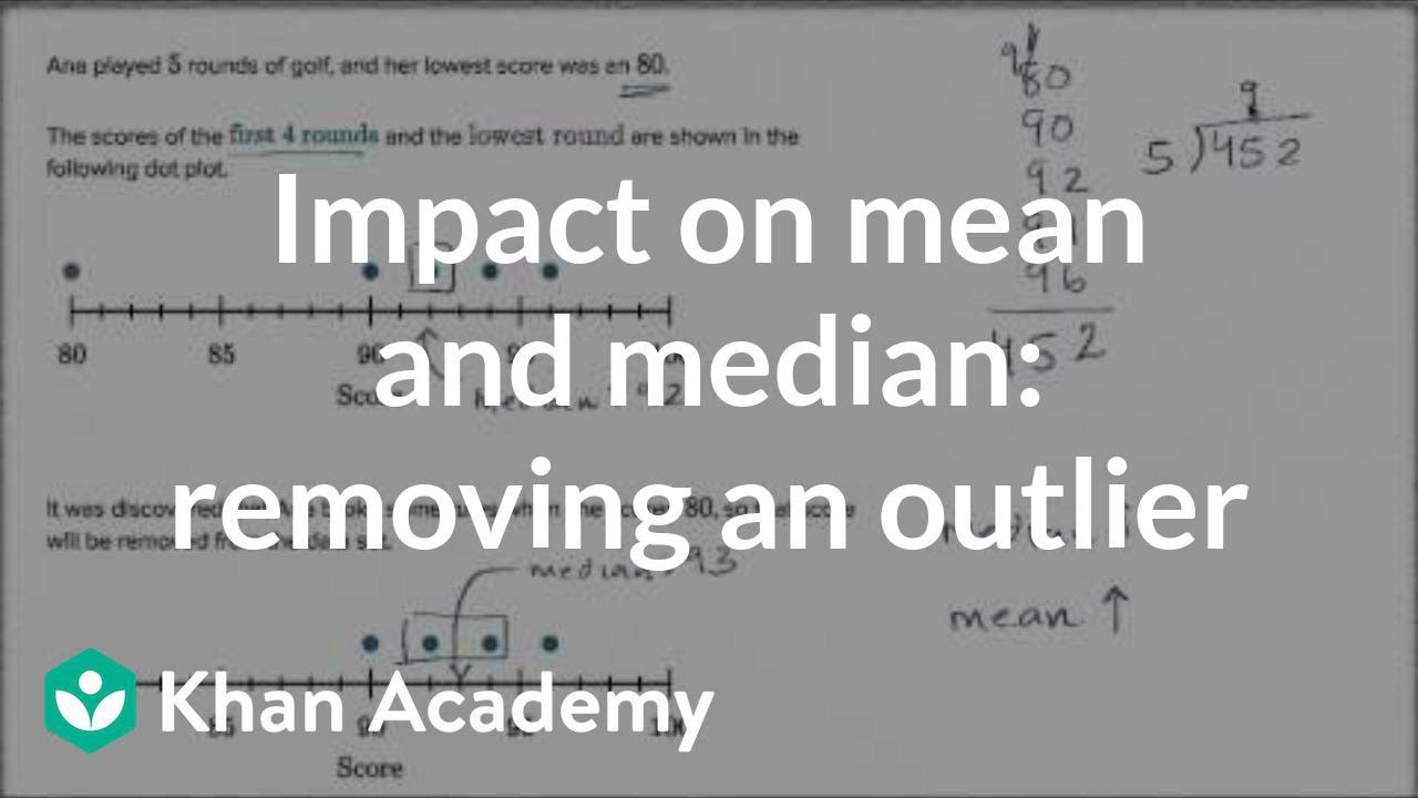 Impact On Median And Mean When Removing Lowest Value Example  6th Grade   Khan Academy