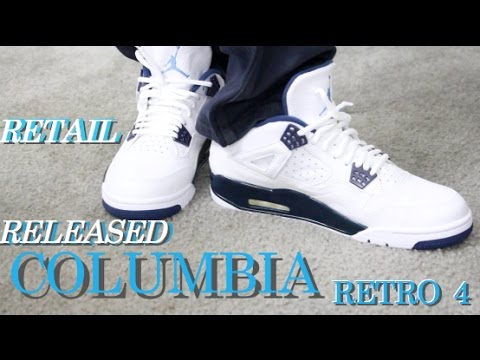 1e3cf37c900 Retail Released Retro Air Jordan 4 Legend Blue Columbia On Feet Review -  YouTube