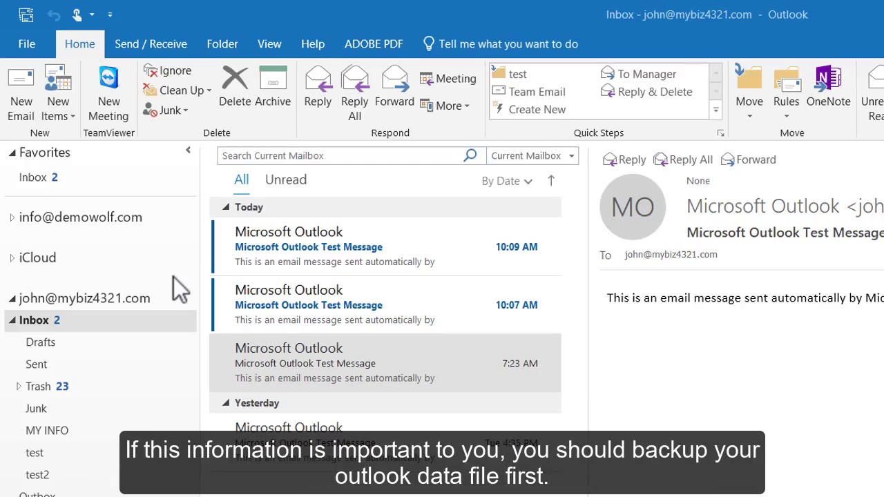 How to delete an email account in Outlook 2016.