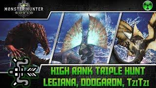 Monster Hunter World 🏹 Bow High Rank Triple Hunt - Legiana, Odogaron, TziTzi Ya-Ku