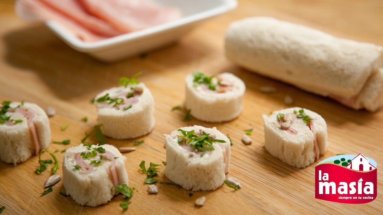 Mini rollitos de pan de molde y jam n cocido youtube for Canape de jamon y queso