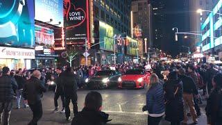 3 nissan GTR's shutting down Times Square