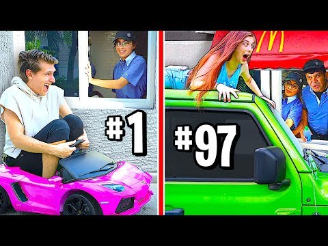 Pranking The SAME McDonald's Drive Thru 100 Times In A Row Challenge