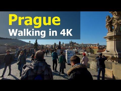 Walking in Prague for 2.5 hours | 4K, Czech Republic