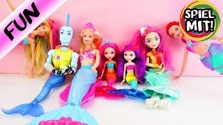 6 Meerjungfrauen + 1 Wassermann  Famile mit Arielle, Barbie, Monster High und Ever After High