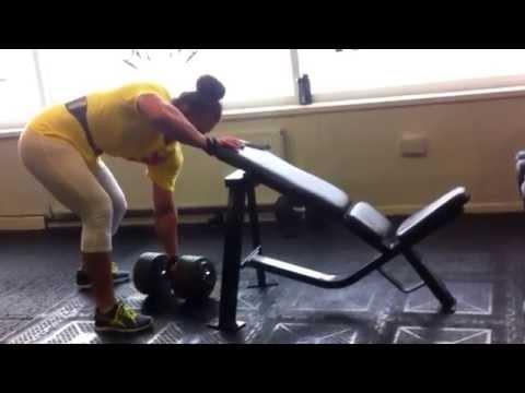 Georgina McConnell offseason 60kg dumbell rows (around jan 2014)