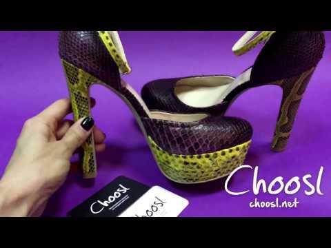 Туфли из натурального питона, с ремешком на щиколотке   — Choosl