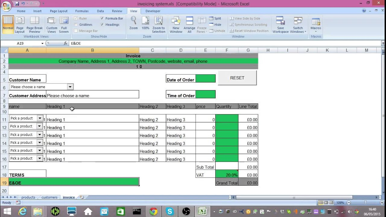 Excel Business Invoicing Spreadsheet   YouTube  Invoice Spreadsheet