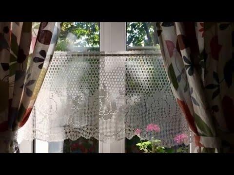 Шторка Розы крючком // Обзор и схема //Филейное вязание