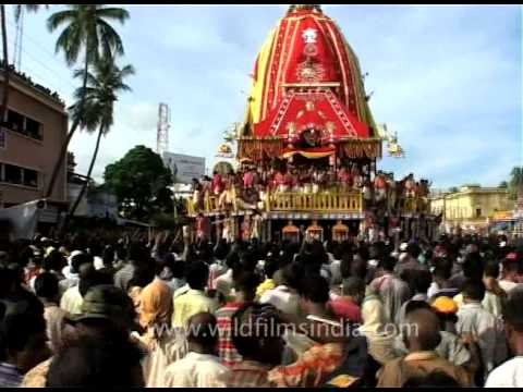 Ratha Tana or chariot pulling at the Ratha yatra procession in Puri
