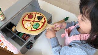 ベテランピザ屋さん~!?ピザカウンターで焼きたてピザ作り!お店屋さんごっこ おままごと Pretend Play Top & Bake Pizza Counter Wooden Play Food