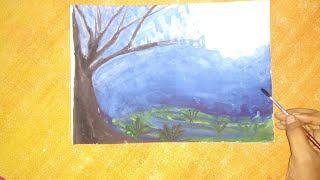 Night sky tree painting water colours painting For
