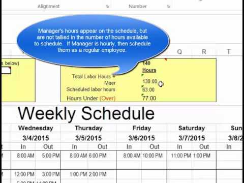 Make Employee Schedules In Microsoft Excel  Youtube