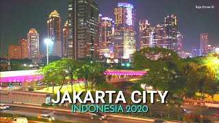 Jakarta City 2020, Night Drone View The Big City in Indonesia