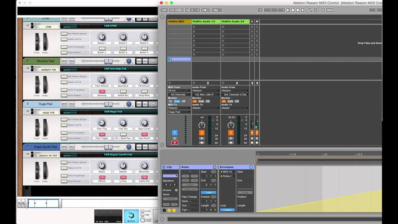 Sending MIDI CC to Reason Combinator Through ReWire