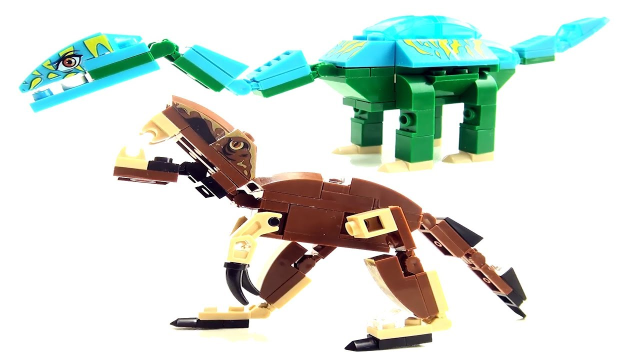 2 lego compatible dinosaurs - Tyrannosaurus Rex Apatosaurus toys - Dinosaur  Speed Build