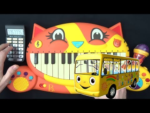 WHEELS ON THE BUS BUT IT'S ON A CAT PIANO AND A DRUM CALCULATOR mp3