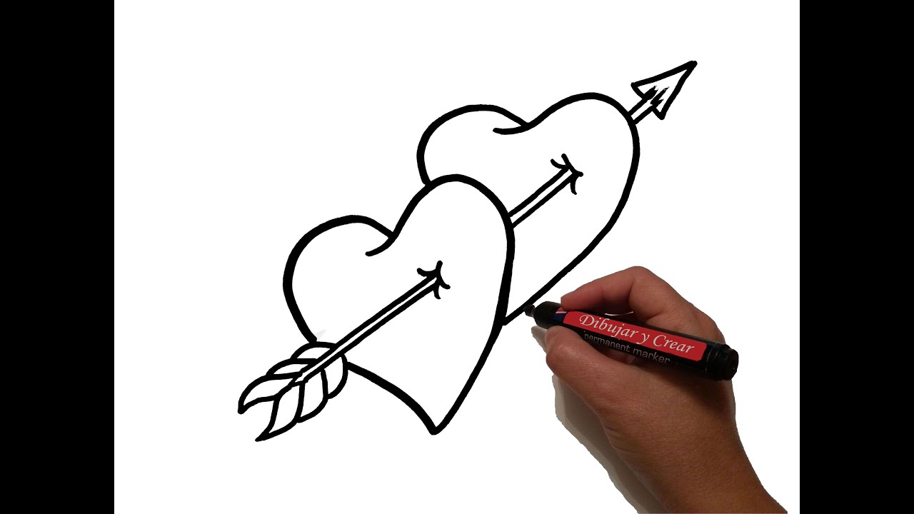 Como dibujar corazones flecha san valentin how to draw for Sala facil de dibujar
