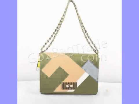 Fendi 2556 Large Pequin Stripe Claudia Bag Cream