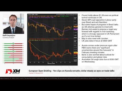 Forex News: 19/02/2019 - Yen slips on Kuroda remarks; dollar steady as eyes on trade talks