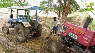 Mahindra Arjun 555 DI Tractor Stuck in canal / powertrac 445 tractor - Come to Village
