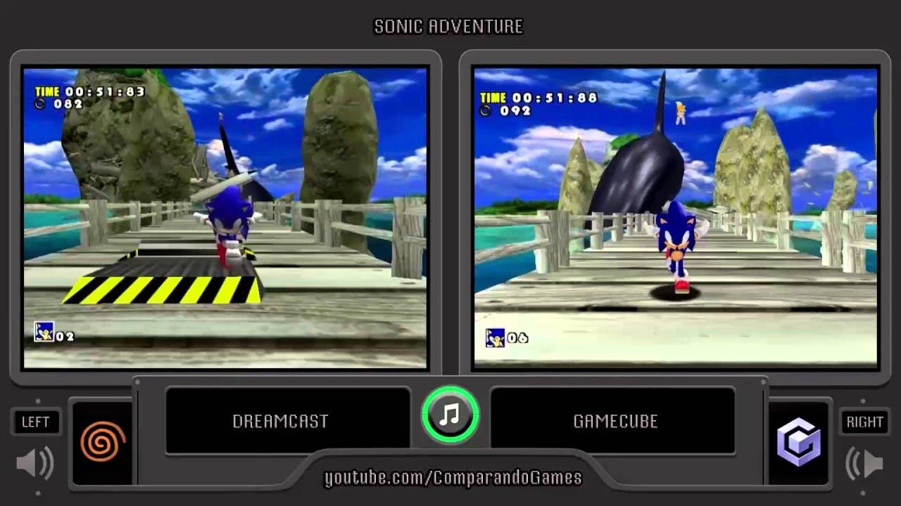Sonic Adventure Dreamcast vs Gamecube Side by Side parison