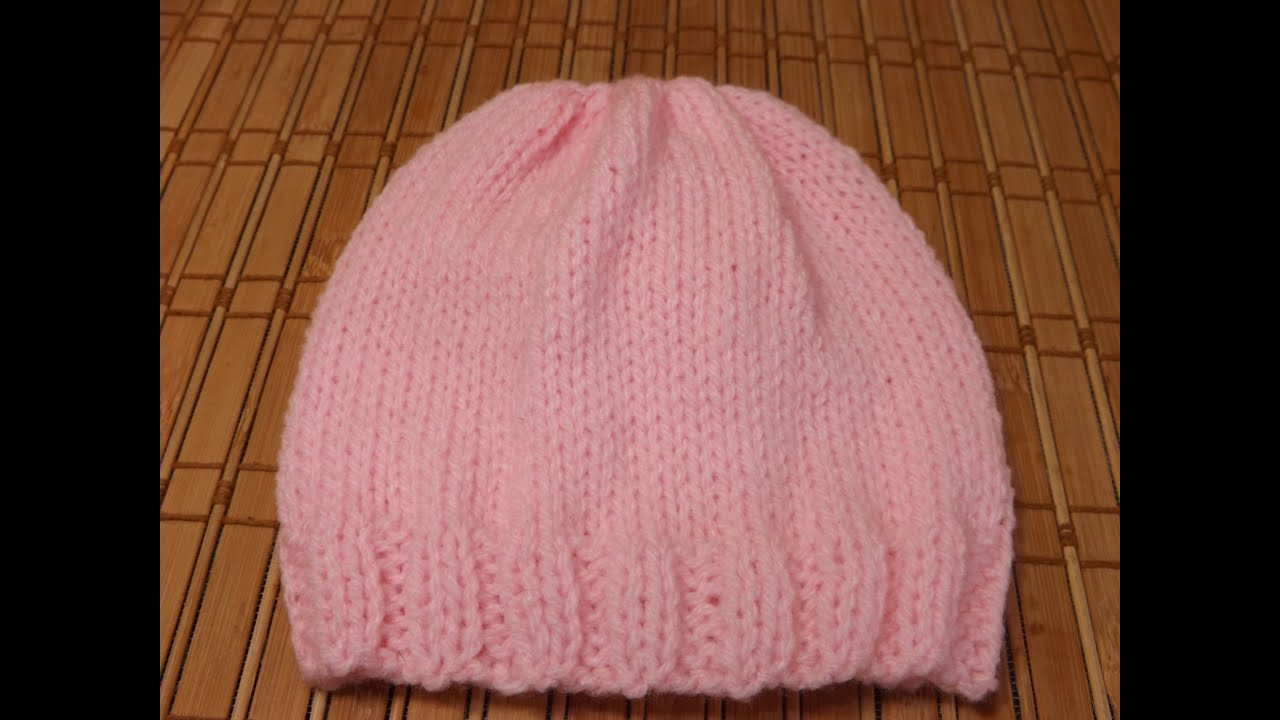 Easy Knit Hat Pattern Circular Needles : How to Knit a newborn babys hat for beginners - YouTube