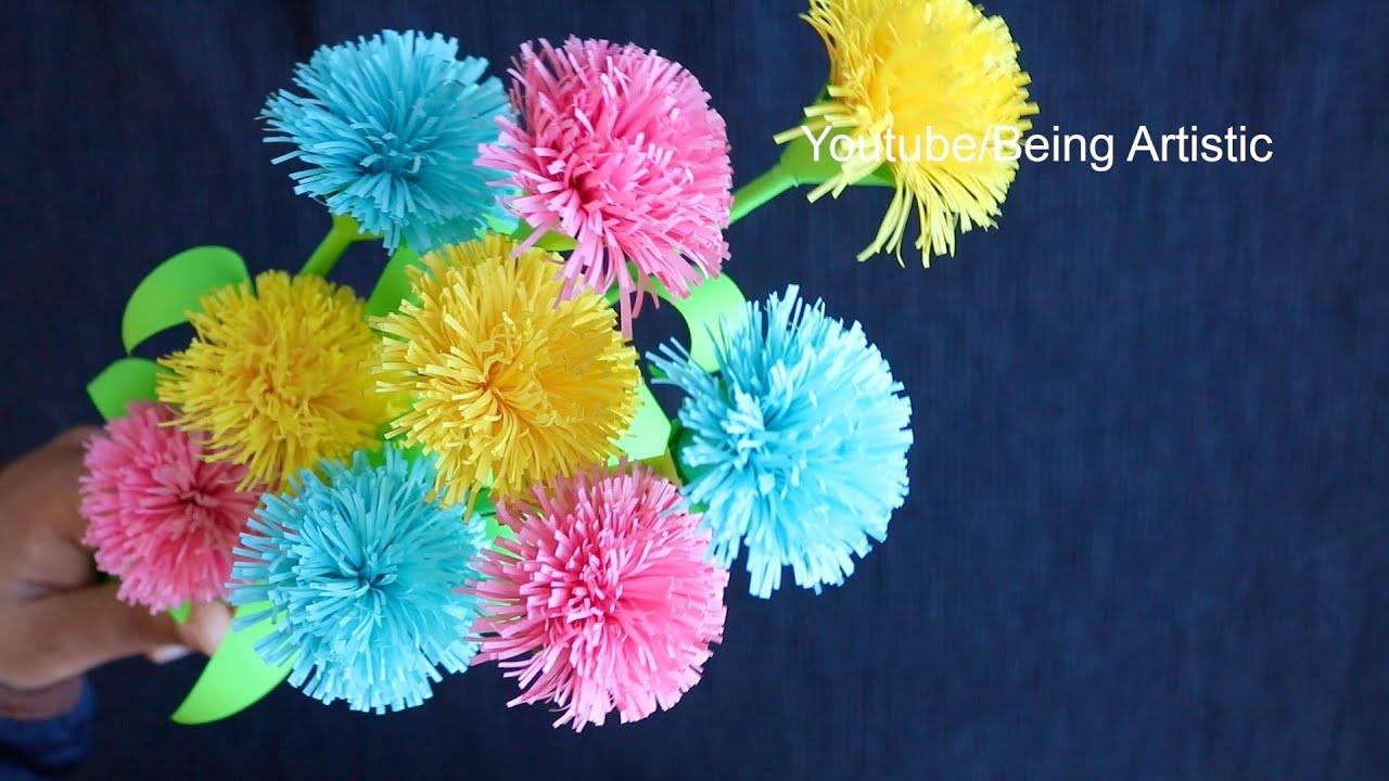 How To Make Paper Flower Stick - Paper Craft  - DIY Paper Flower