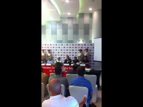 Coaches Simon Amor and Sean Horan answer questions at the press conference.