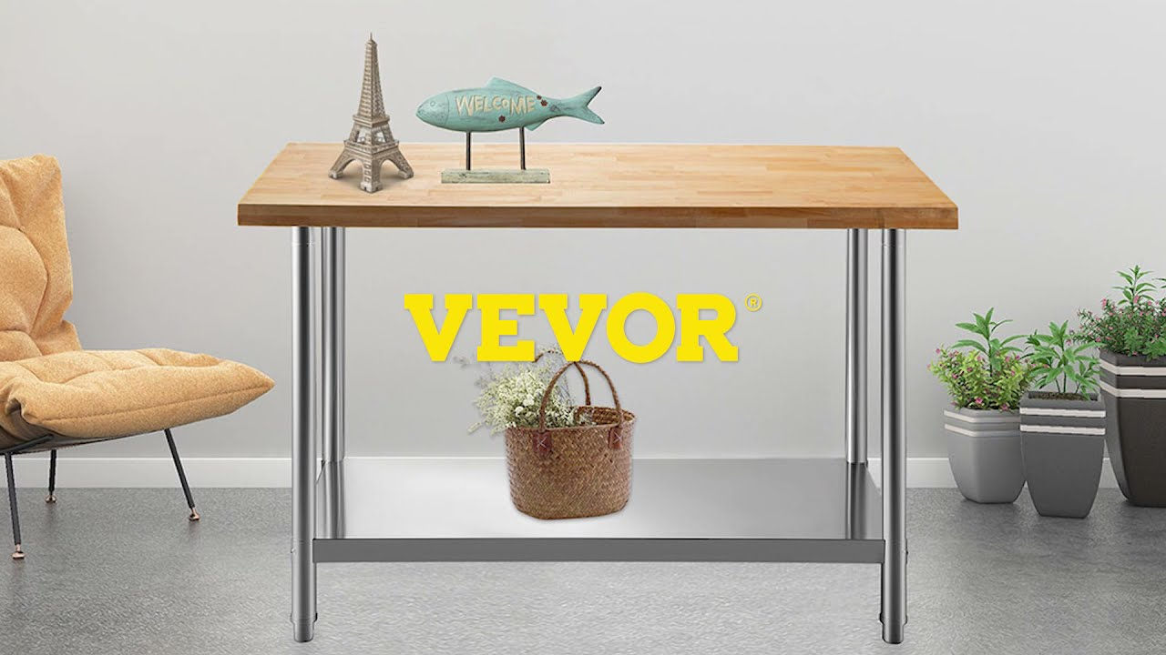 Vevor Maple Top Work Table Kitchen Prep Table Wood 48 X 24 In Stainless Steel Youtube
