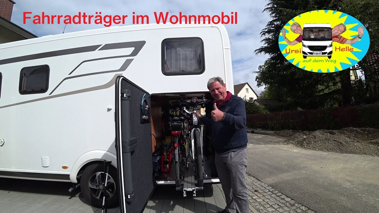 fahrradtr gersystem f r die heckgarage im wohnmobil youtube. Black Bedroom Furniture Sets. Home Design Ideas