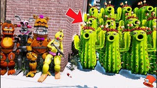 CAN THE ANIMATRONICS DEFEAT THE CACTUS ARMY? PLANTS vs ZOMBIES 2! (GTA 5 Mods FNAF Kids RedHatter)