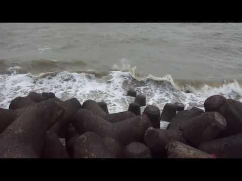 Sea waves of Arabian sea at Marine Drive, Mumbai, India