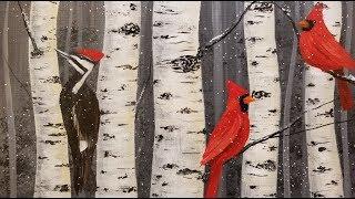 Birds in Winter Birch Trees LIVE Acrylic Painting Tutorial