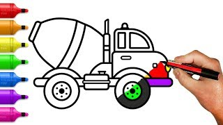 Cement Mixer Truck Coloring Pages - How to Draw Construction Truck for Kids