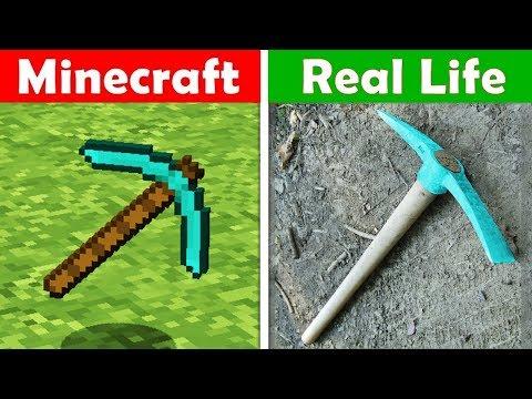 MINECRAFT DIAMOND PICKAXE IN REAL LIFE! Minecraft Vs Real Life Animation