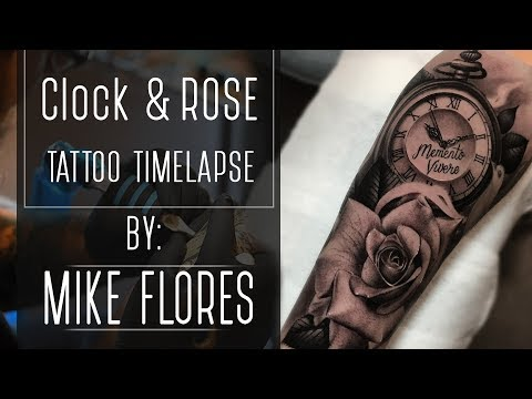 Clock and Realistic Rose Tattoo Time-Lapse by Mike Flores