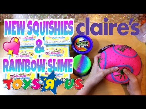 Thumbnail: NEW SQUISHIES AT CLAIRE'S AND RAINBOW SLIME AT TOYS R US VLOG ~UNBOXING KAWAII SQUEEZIES BLIND BOX ~