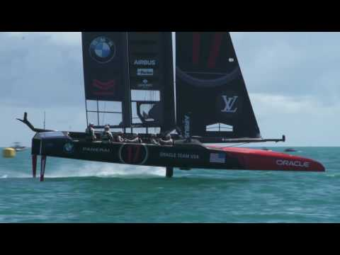 ORACLE TEAM USA Wing-sailing the Great Sound in Bermuda