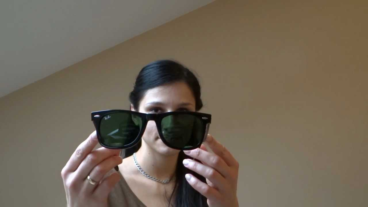 5df5428c554 Ray-Ban Wayfarer 2140 size comparison (50 mm vs 54 mm) on woman s face