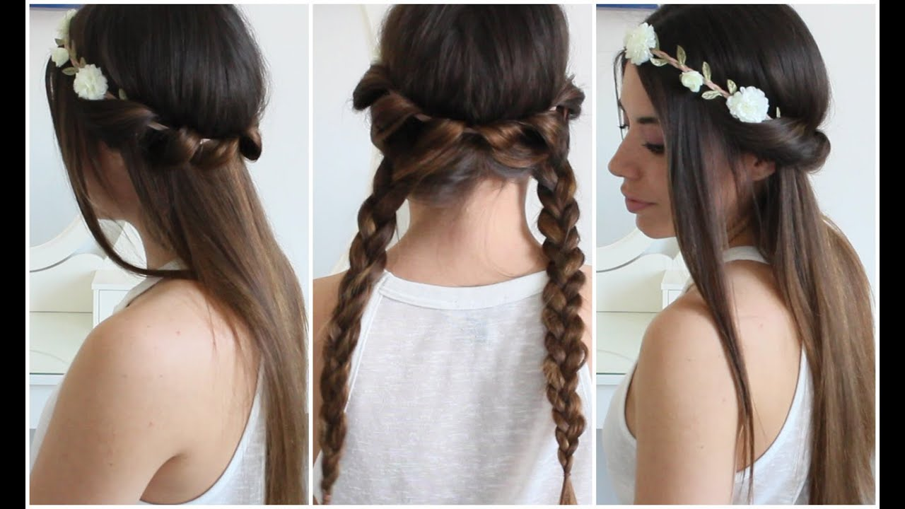 2 Acconciature Bellissime Con Una Fascetta Floreale Easy Hairstyles With A Flower Headband