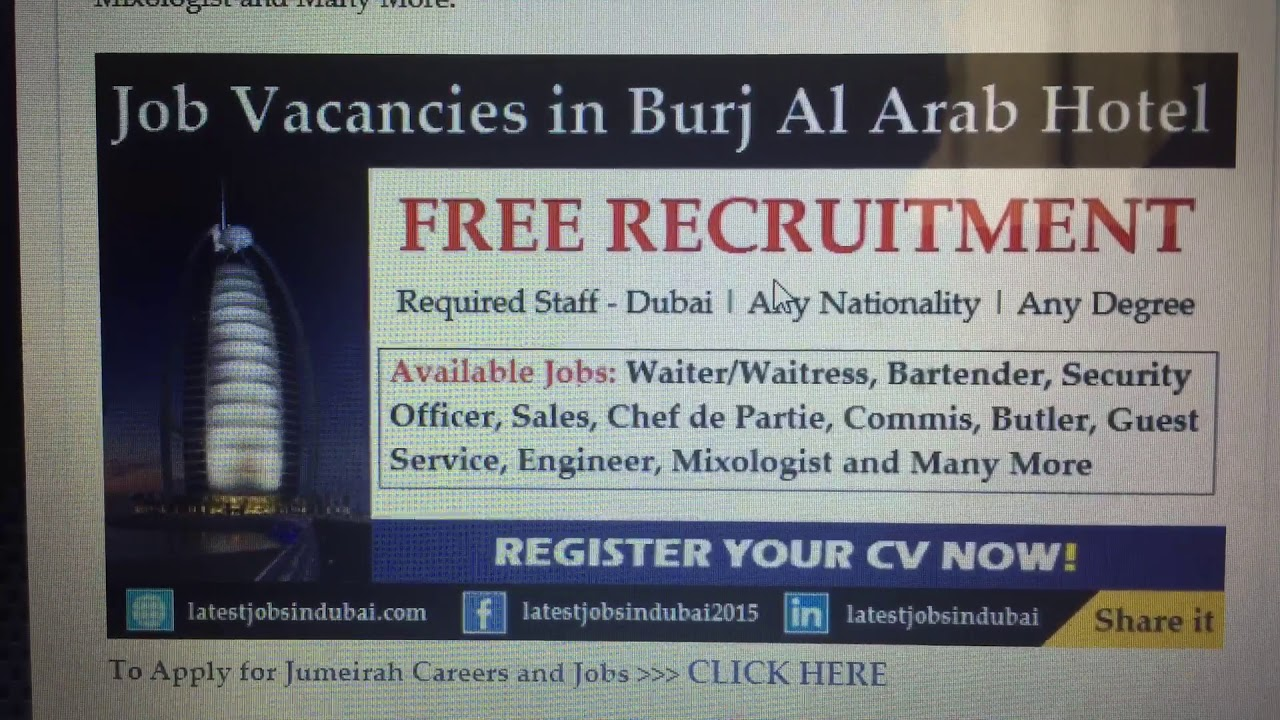 Jobs Vacansie in Burj Al Arab Dubai