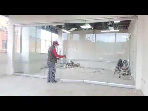 Alvimp puerta en vidrio plegable 8mmvesting youtube - Puertas deslizantes de cristal ...