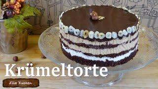 Krümeltorte Rezept No bake Dessert Kuchen | Tortencreme ohne Gelatine | Kühlschranktorte Schokotorte