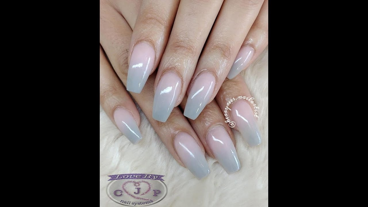Acrylic Nails Ombre In Grey And Pink Ballerina Shaped Using Cjp