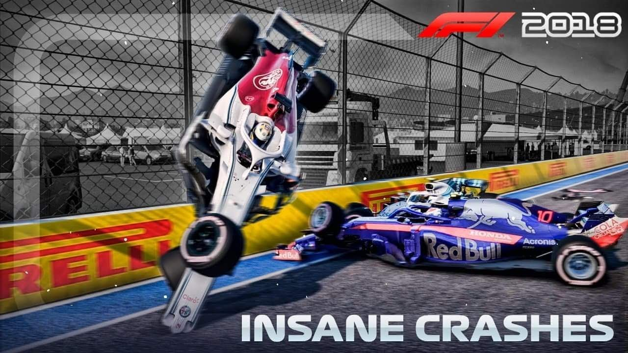 F1 2018 Game: INSANE CRASHES! - YouTube