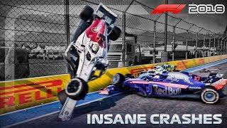 F1 2018 Game: INSANE CRASHES!